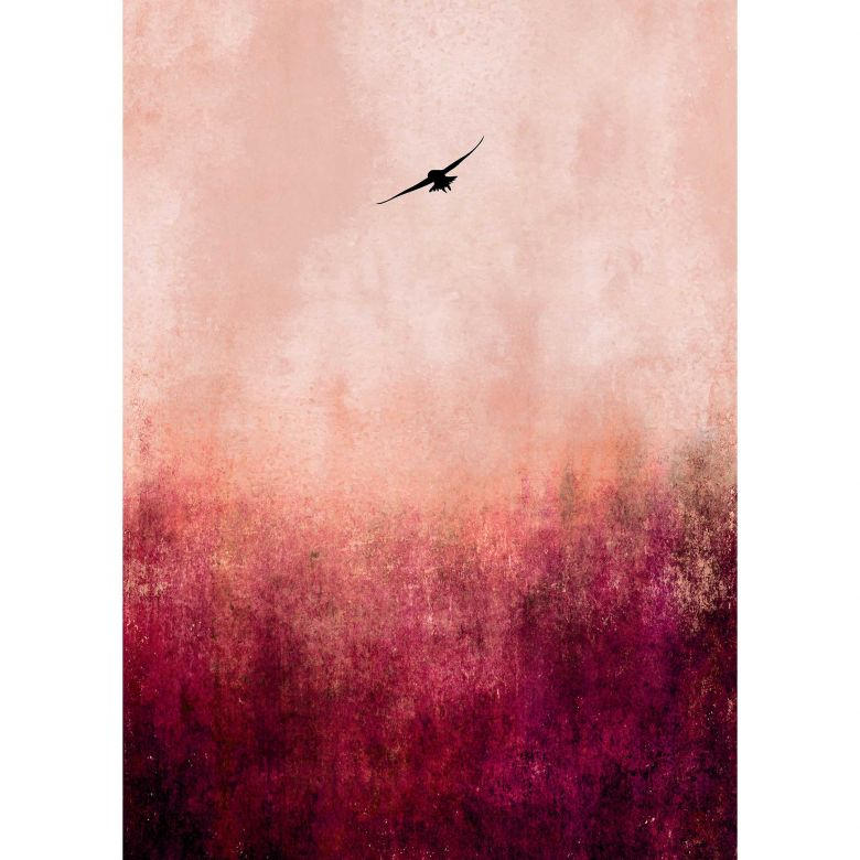 Livingwalls Fototapete ARTist Warm Sunset mit Vogel am Himmel rot, schwarz