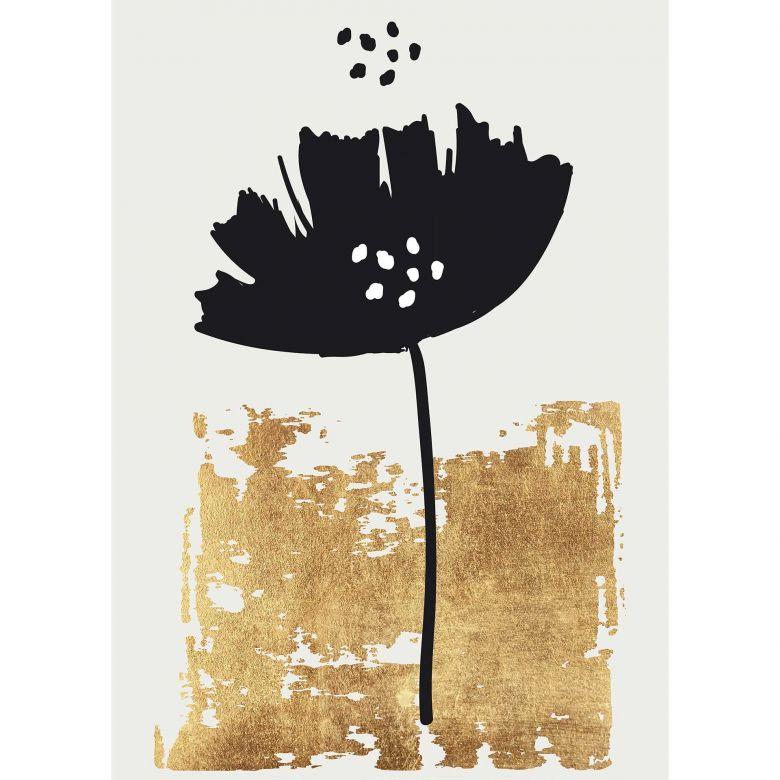 Livingwalls Fototapete ARTist Black Poppy abstrakte Kunst gold, schwarz, weiß