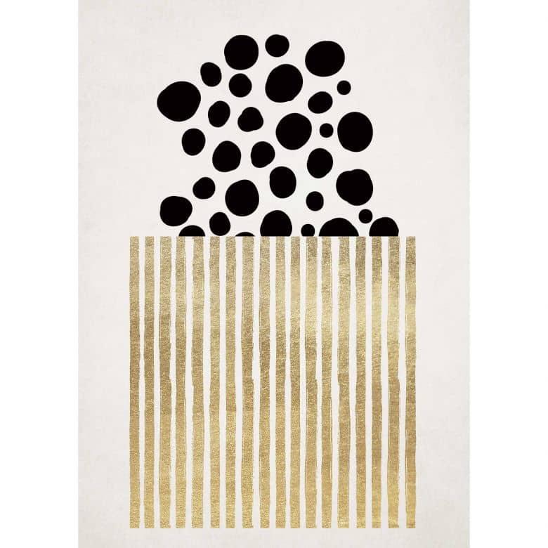 Livingwalls Fototapete ARTist Golden Popcorn abstrakte Kunst gold, schwarz, weiß