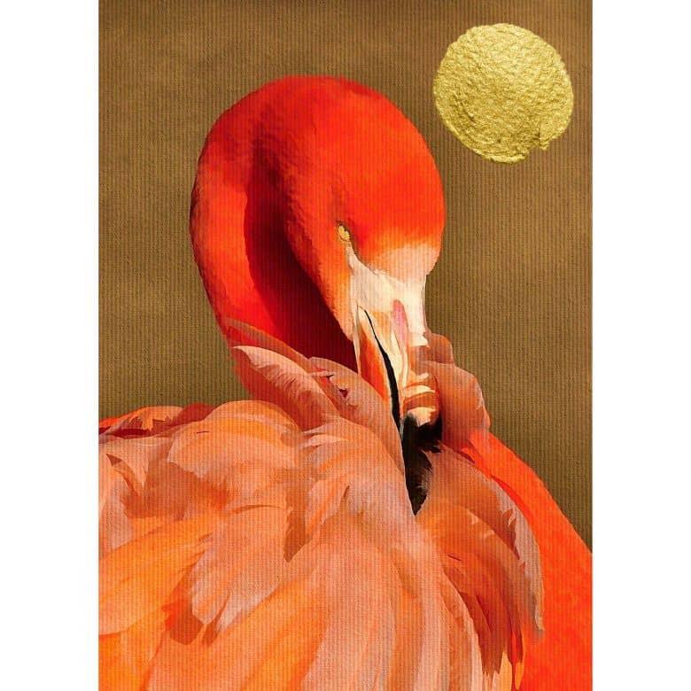 Livingwalls Fototapete ARTist Flamingo in Sun mit Flamingo gold, rot