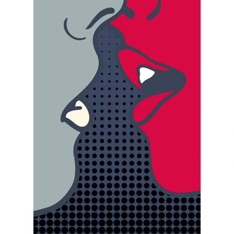 Livingwalls Fototapete ARTist The Kiss abstrakte Kunst grau, rot, schwarz, weiß