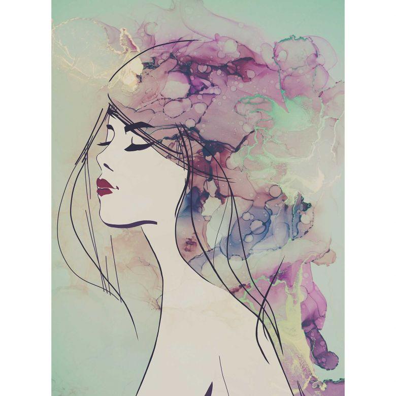 Livingwalls Fototapete ARTist Lady mit Aquarell Zeichnung beige, grün, schwarz, violett