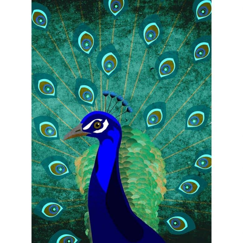 Livingwalls Fototapete ARTist Peacock mit Pfau blau, grün