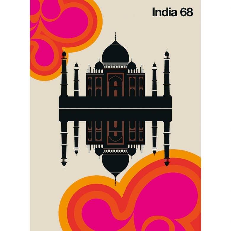 Livingwalls Fototapete ARTist India 68 Taj Mahal beige, braun, orange, rosa, rot, schwarz
