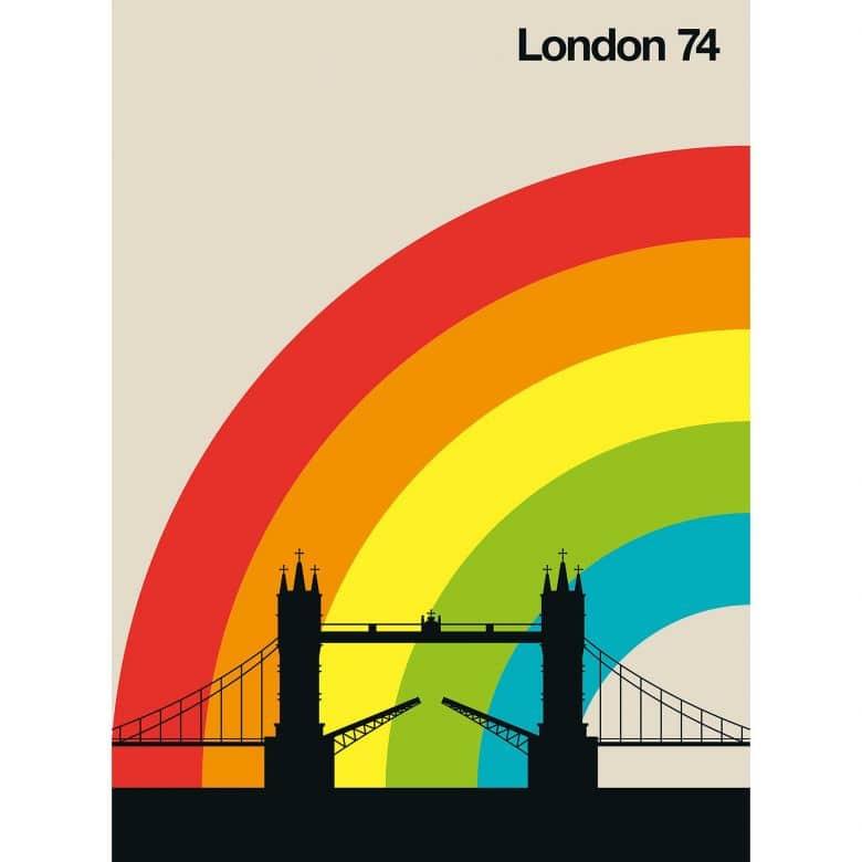 Livingwalls Fototapete ARTist London 74 Tower Bridge beige, gelb, grün, orange, rot, schwarz, türkis