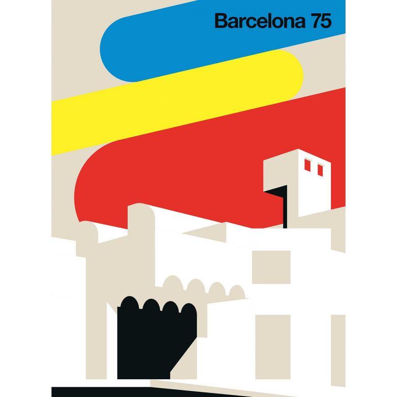 Livingwalls Fototapete ARTist Barcelona 75 beige, blau, gelb, rot, schwarz, weiß