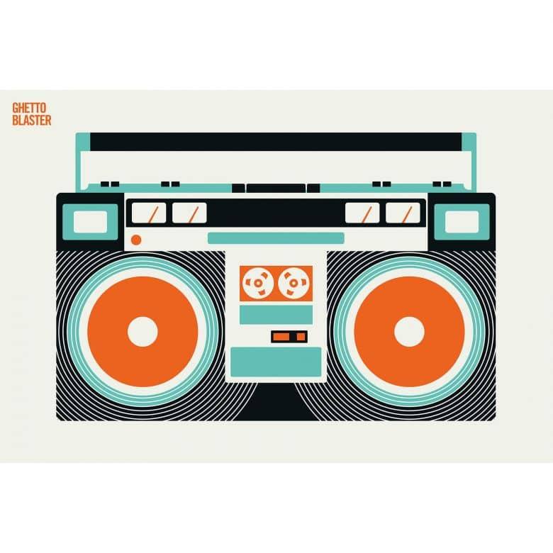 Livingwalls Fototapete ARTist Ghetto Blaster orange, schwarz, türkis