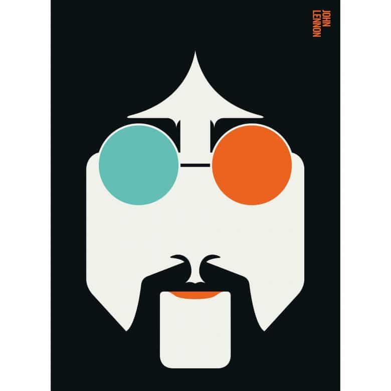 Livingwalls Fototapete ARTist Lennon orange, schwarz, türkis