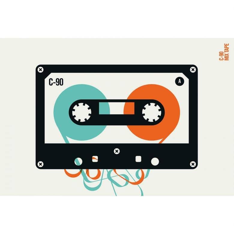 Livingwalls Fototapete ARTist Mixtape mit Kassette orange, schwarz, türkis