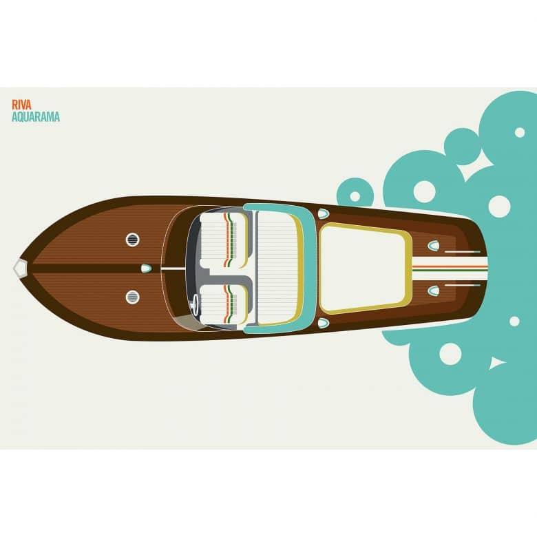 Livingwalls Fototapete ARTist Riva mit Yacht Boot braun, gelb, grün, orange, schwarz, türkis