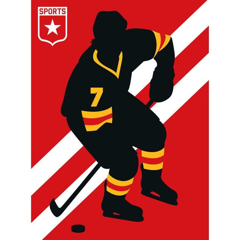 Livingwalls Fototapete ARTist IceHockey gelb, rot, schwarz, weiß