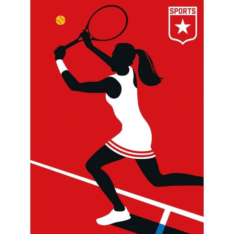 Livingwalls Fototapete ARTist Tennisplayer rot, schwarz, weiß
