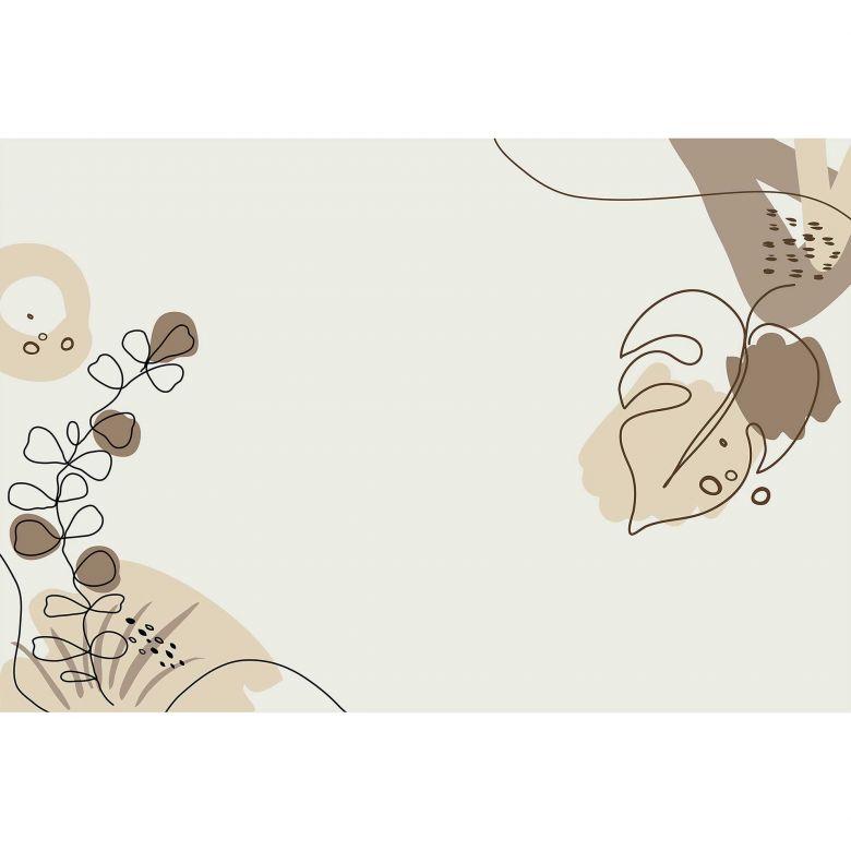 Livingwalls Fototapete ARTist Drawn Leaves mit gezeichneten Blättern beige, braun, creme