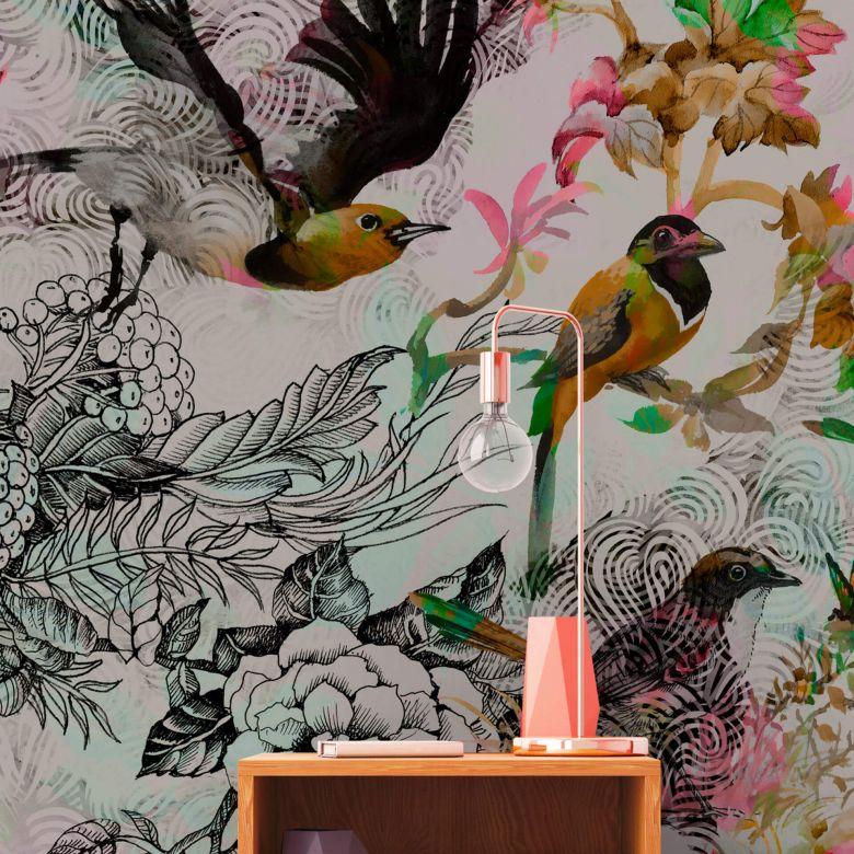 Livingwalls Fototapete Walls by Patel funky birds 1