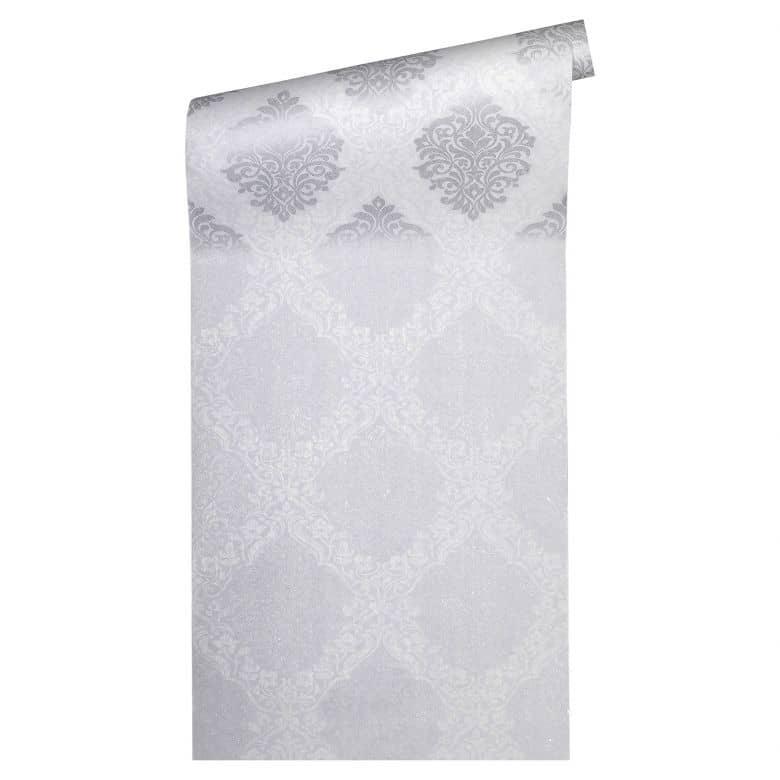 Architects Paper Vliestapete Alpha Barocktapete mit Ornamenten grau, metallic, weiß
