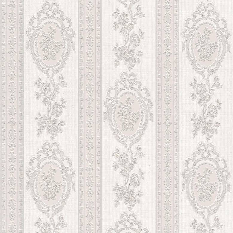 A.S. Création wallpaper Belle Epoque grey, metallic, white