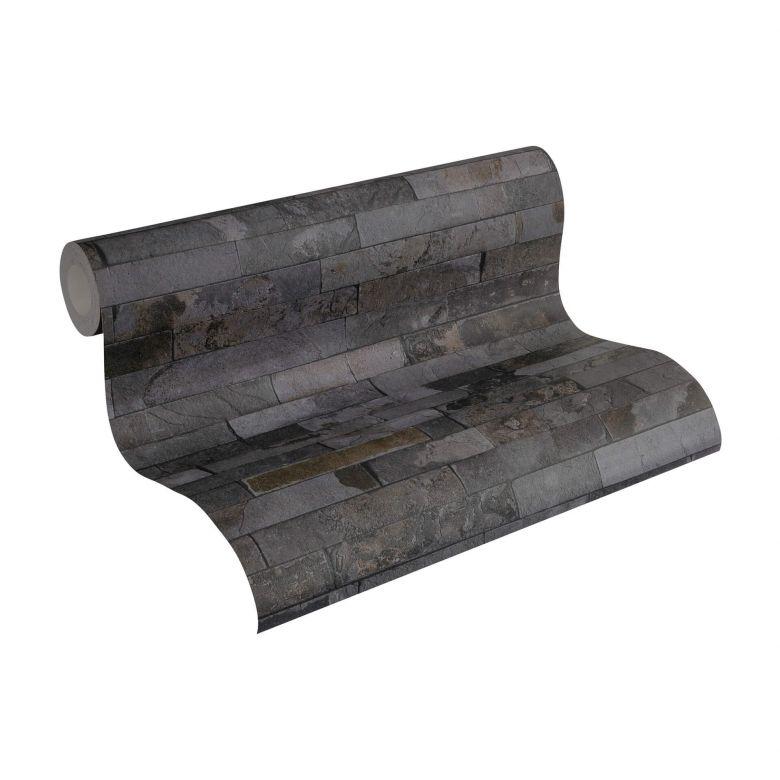 A.S. Création Vliestapete Wood and Stone Tapete in Steinoptik Naturstein grau, schwarz