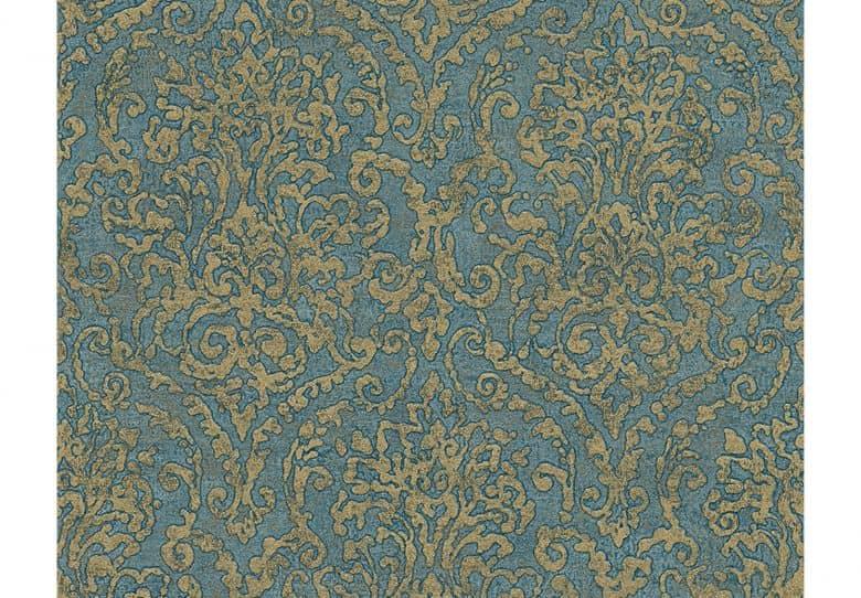 A s cr ation tapete bohemian burlesque blau gr n metallic wall - Tapete petrol blau ...