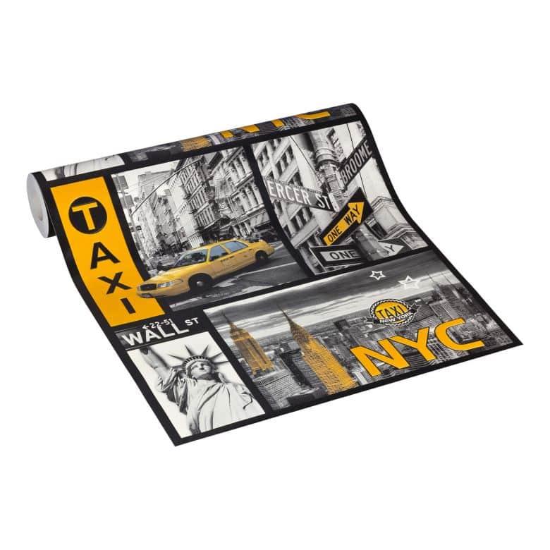 A.S. Creation wallpaper NYC Taxiellow, metallic, black