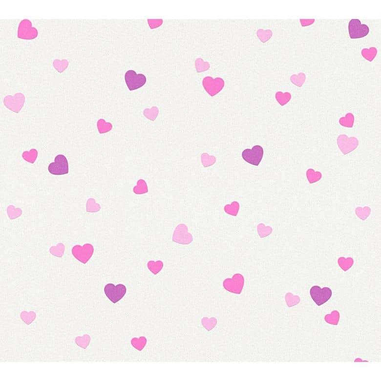 A.S. Création Tapete Boys & Girls 6 mit Herzen Love creme, metallic, lila