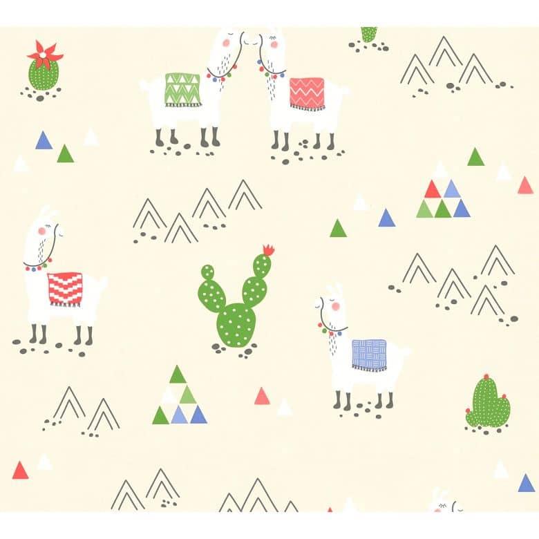 A.S. Création PVC-freie Vliestapete Boys & Girls 6 Tapete mit Lamas beige, creme