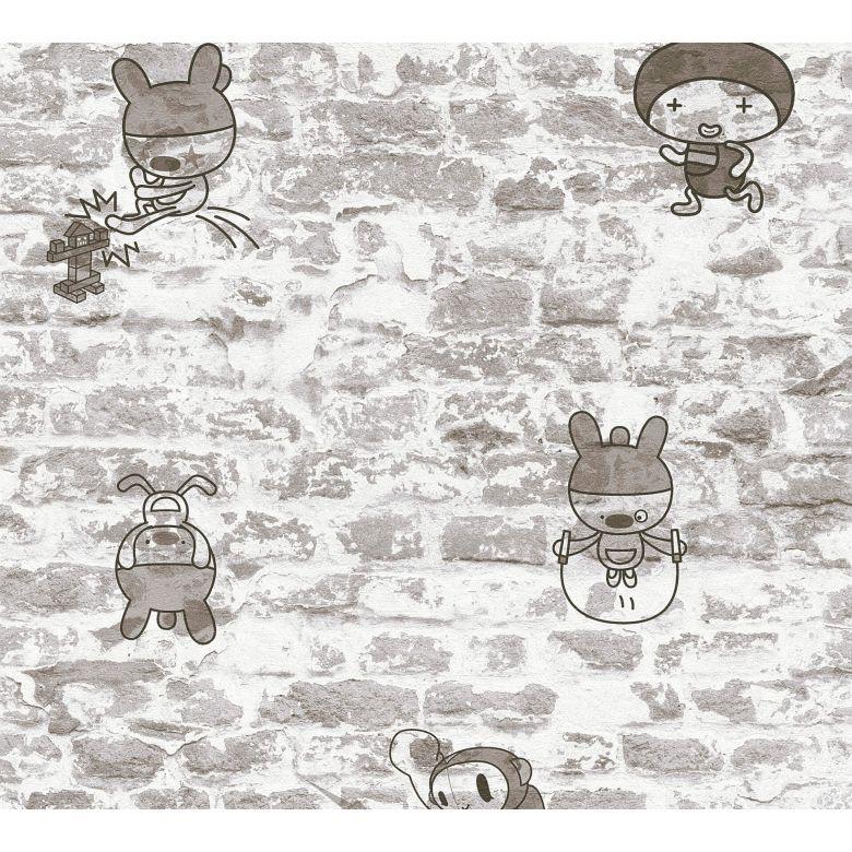 A.S. Création Papiertapete Boys & Girls 6 Tapete in Vintage Backstein Optik grau, metallic, schwarz