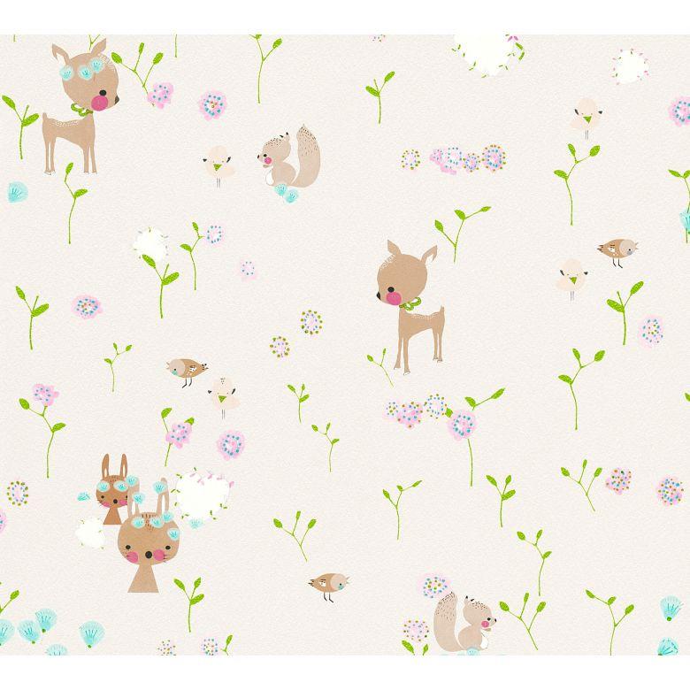 A.S. Création Papiertapete Boys and Girls Kinderzimmertapete mit niedlichen Tieren beige, braun, grün