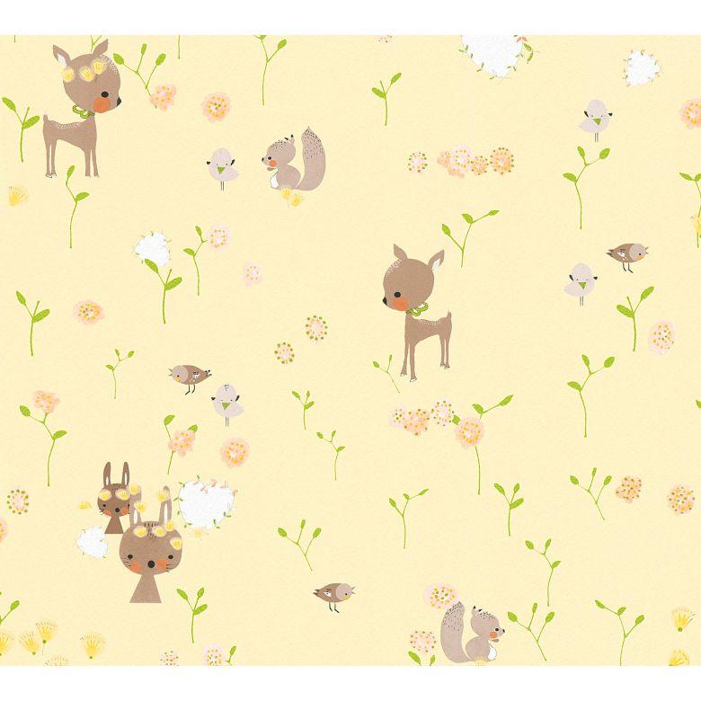 A.S. Création Papiertapete Boys and Girls Kinderzimmertapete mit niedlichen Tieren braun, gelb, grün