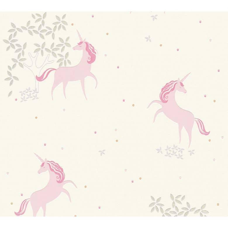 A.S. Création Vliestapete Boys and Girls Kinderzimmertapete mit Einhörnern Glitzereffekt grau, rosa, weiß