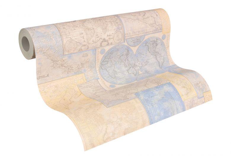 A.S. Création - carta da paratiDekora Natur 6 colore azzurro pastello, avorio, beige-rosso chiaro
