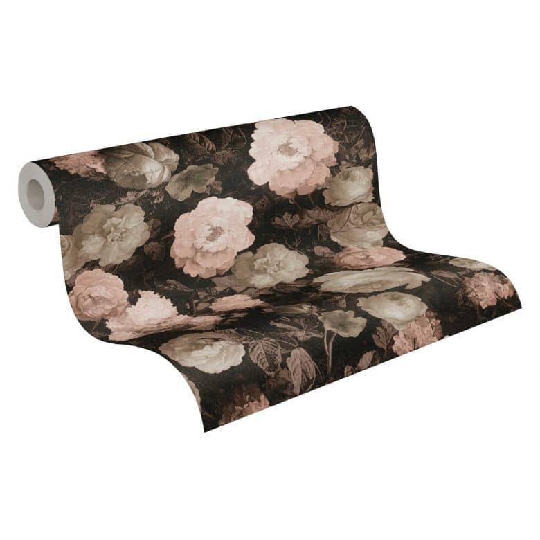 A.S. Création Vliestapete History of Art Rosentapete floral rosa, rot, grau