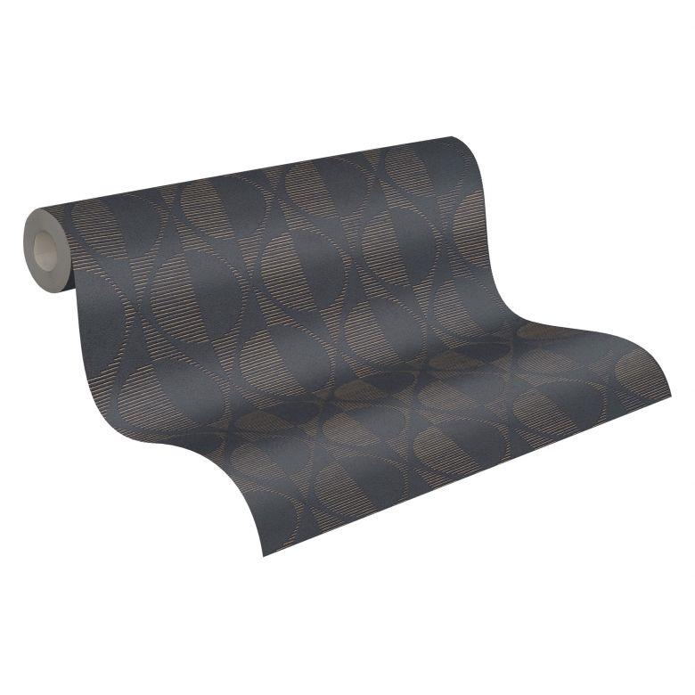 A.S. Création Vliestapete Pop Style geometrische Tapete, schwarz, metallic