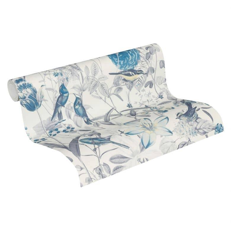 A.S. Création Exotic Life Papier peint floral, Bleu, Jaune, Gris