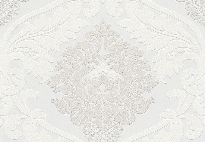 A.S. Création Vliestapete Bling Bling Barocktapete mit Ornamenten Glitzereffekt weiß