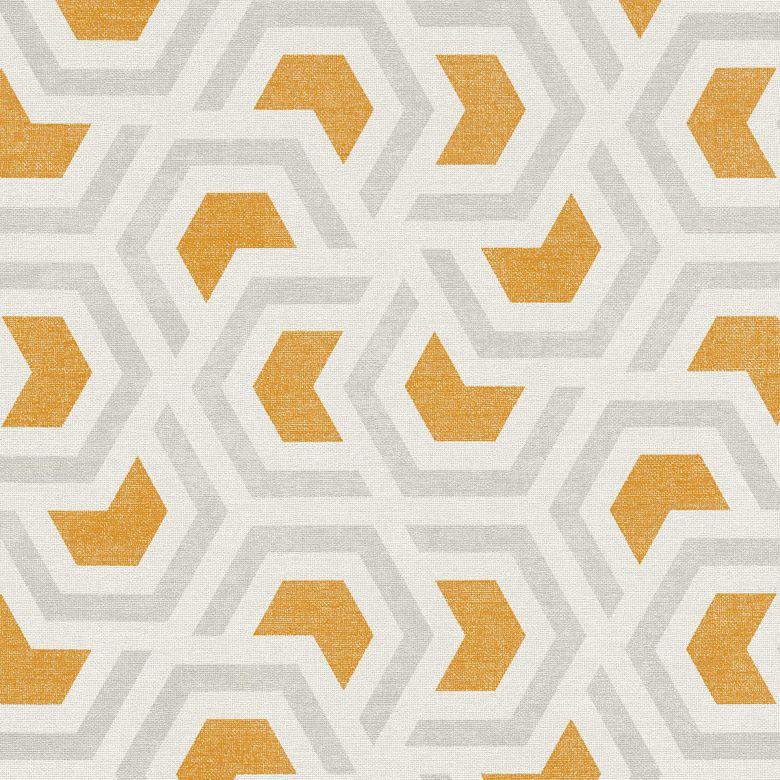 A.S. Création Vliestapete Linen Style Tapete geometrisch grafisch grau, orange, weiß