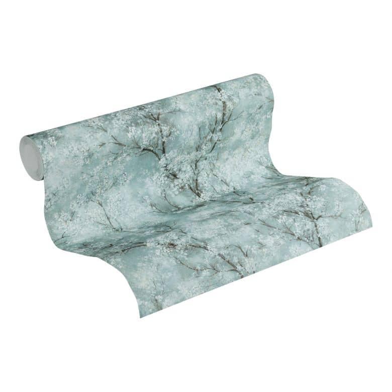 Livingwalls Vliestapete New Walls Cosy & Relax Blumentapete mit Kirschblüten blau, grau, grün