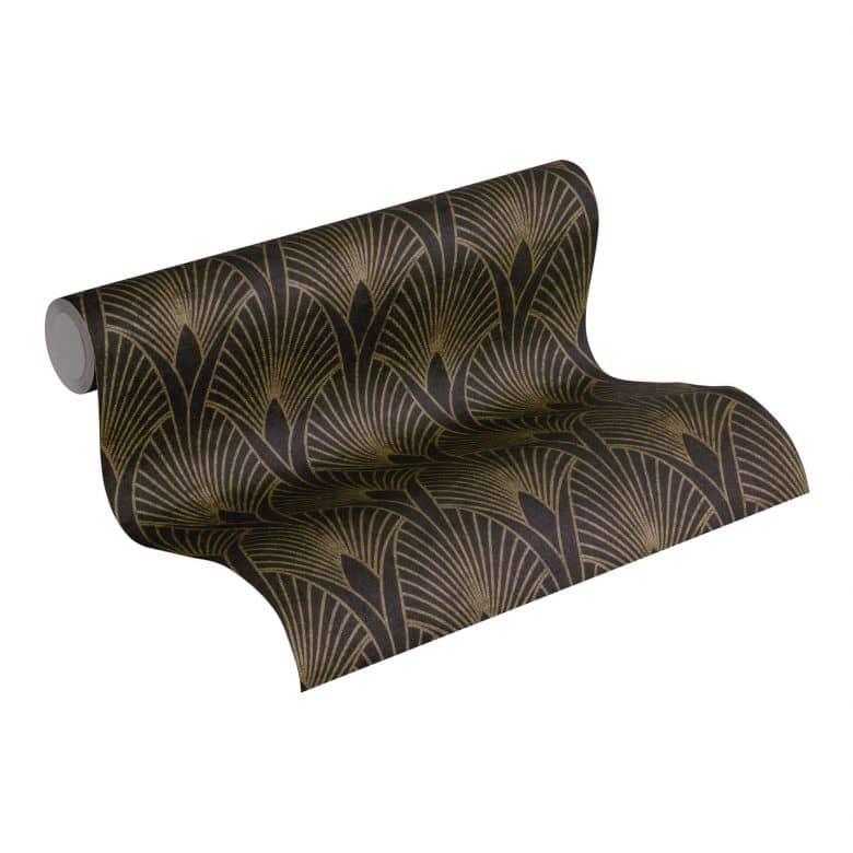 Livingwalls Papier peint intissé New Walls 50's Glam Art déco métallique, noir