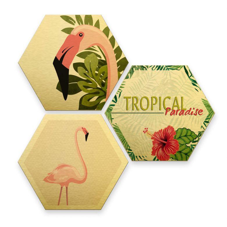 Hexagon - Alu-Dibond-Goldeffekt - Flamingo 03 (3er Set)