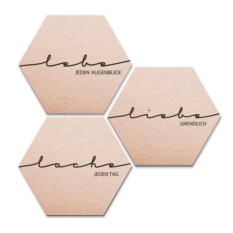 Hexagon - Alu-Dibond-Kupfereffekt - Lebe, Lache, Liebe (3er Set)