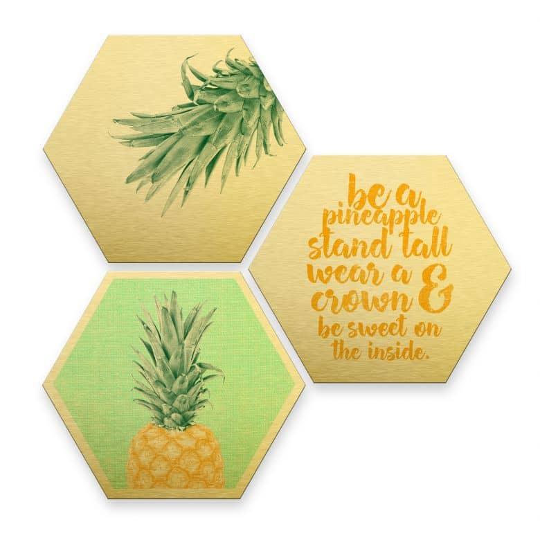 Hexagon - Alu-Dibond-Goldeffekt - Ananas (3er Set)