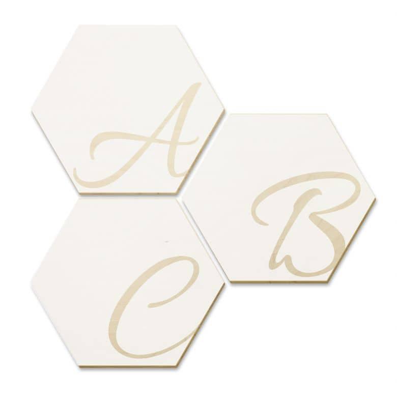 Esagoni in legno – Lettere - bianco
