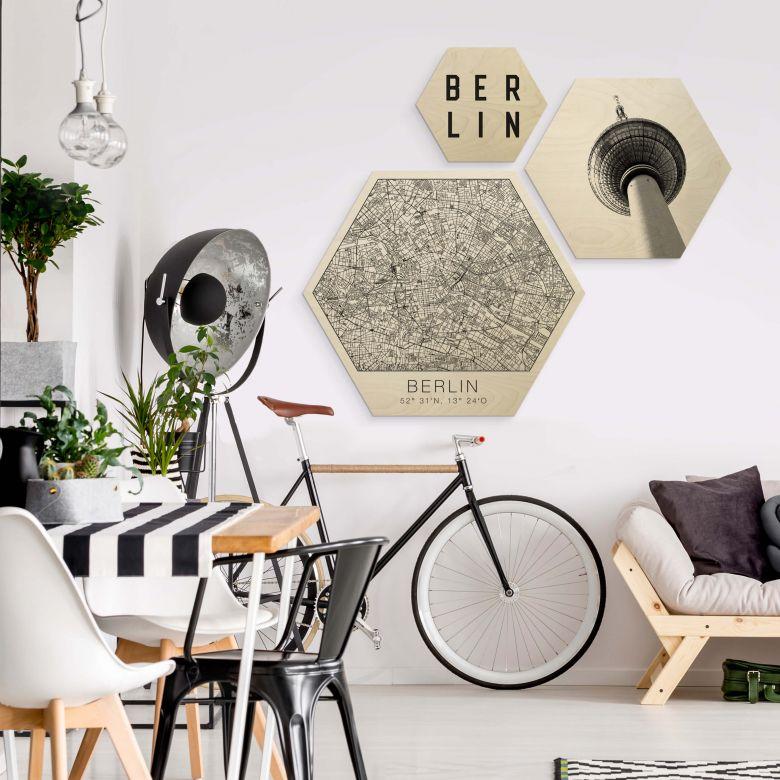Hexagon - Holz Birke-Furnier - Typisch Berlin (3-teilig)