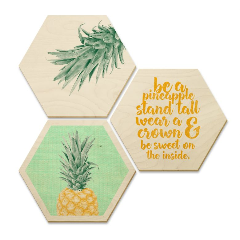 Hexagone - Bois placage de bouleau - Ananas (Set de 3)