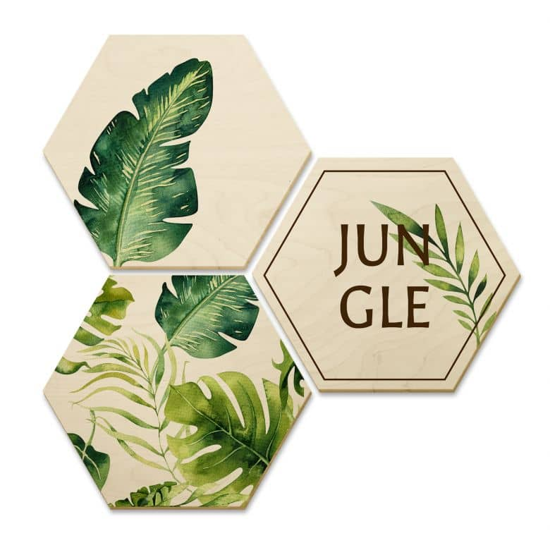 Hexagon Birch veneer Kvilis - Jungle