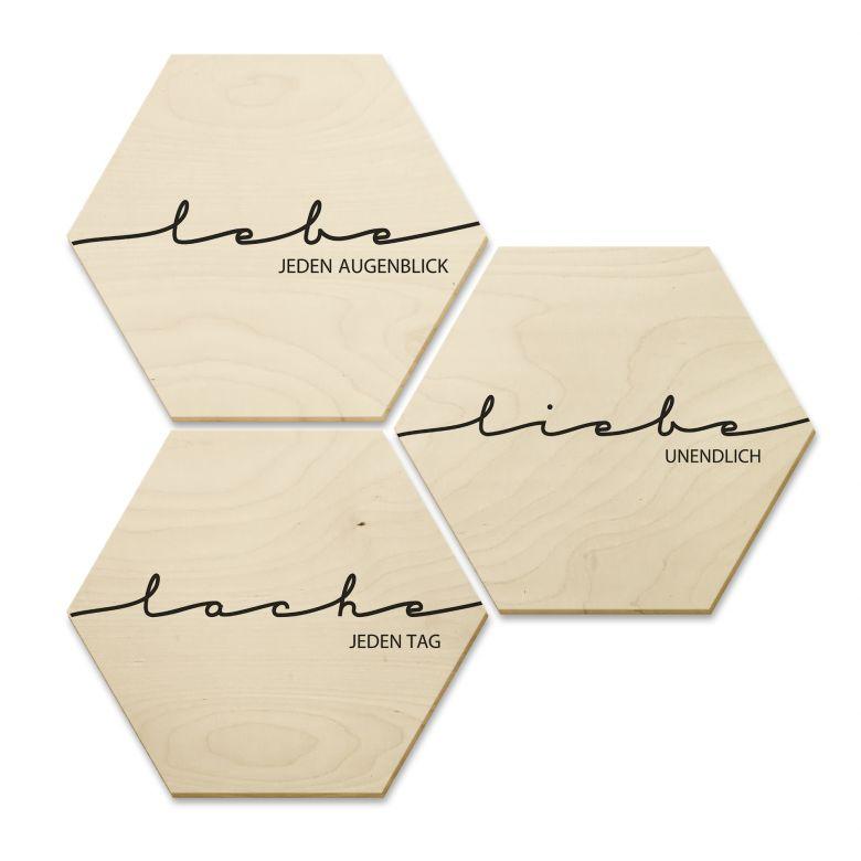 Hexagon - Holz Birke-Furnier - Lebe, Lache, Liebe (3er Set)