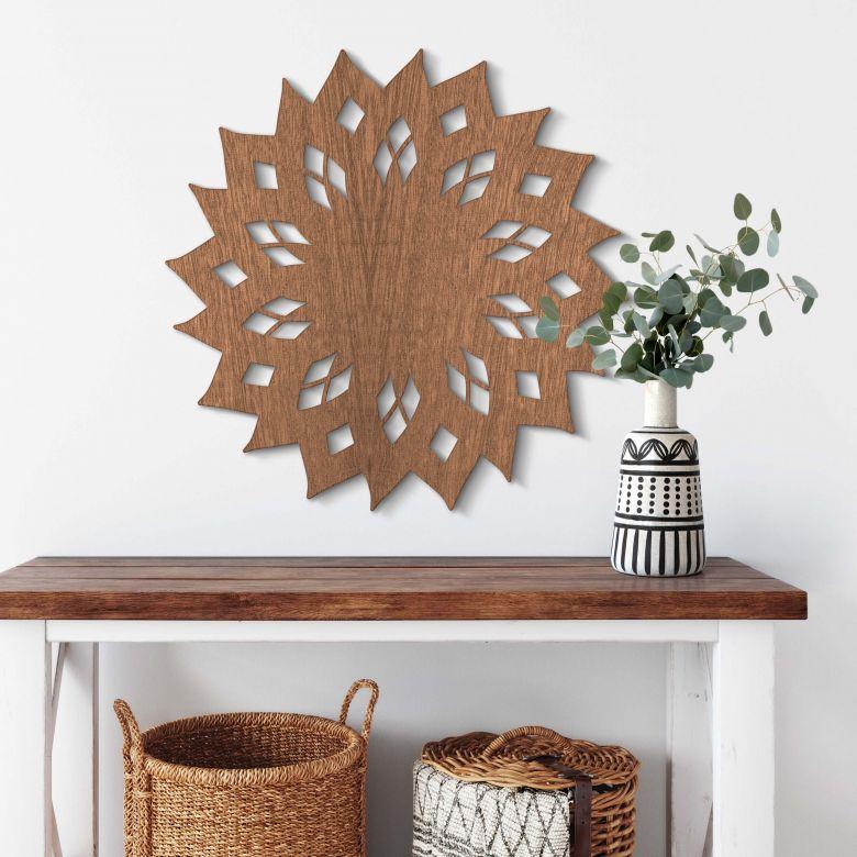 Holzkunst Mahagoni - Mandala Sonne 02