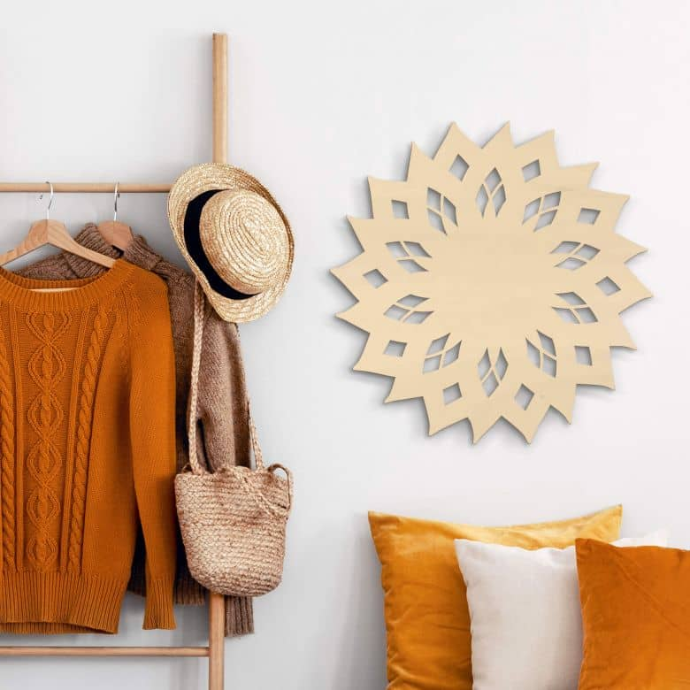 Holzkunst Pappel - Mandala Sonne 02