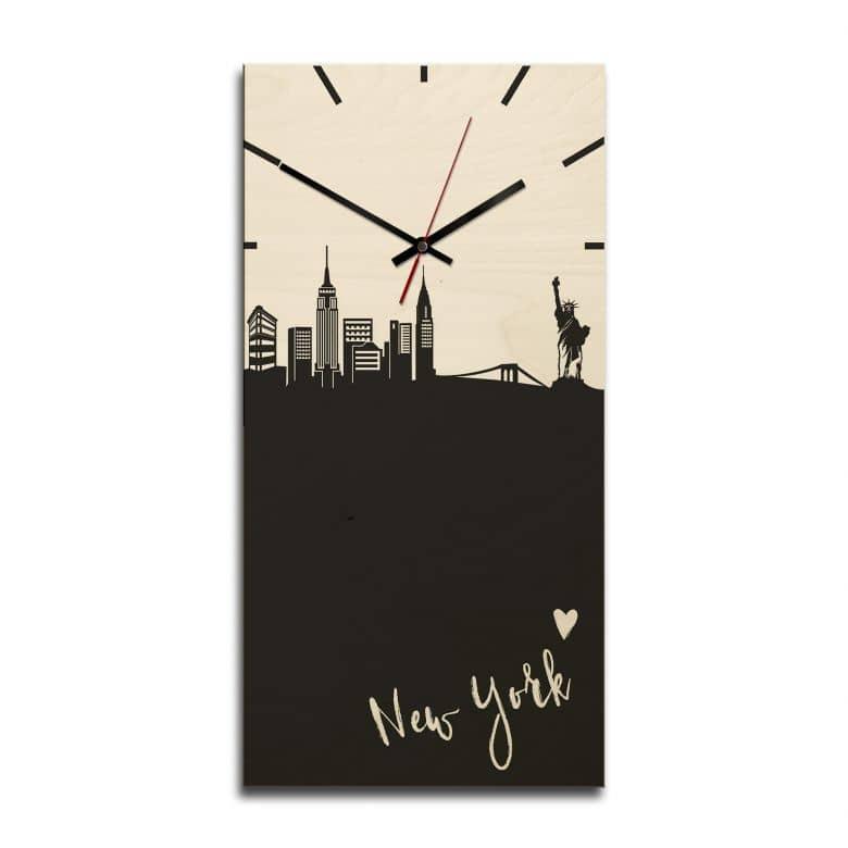 Holz-Wanduhr - Skyline New York rechteckig