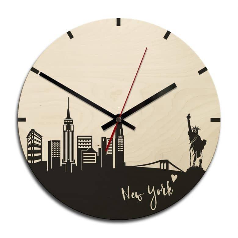 holz wanduhr skyline new york rund wall. Black Bedroom Furniture Sets. Home Design Ideas
