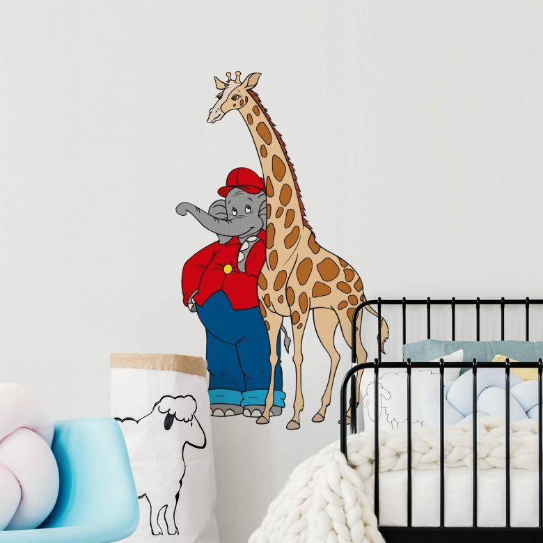 Muursticker Benjamin met Giraf